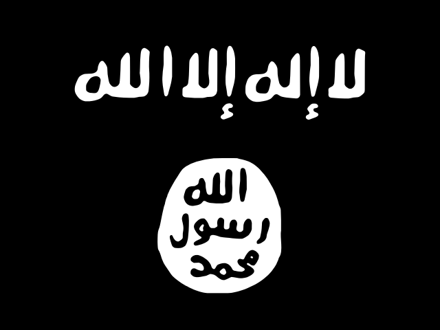 Flag of the Islamic State or IS, also known as the Islamic State of Iraq and Syria (ISIS) or Islamic State of Iraq and the Levant (ISIL)