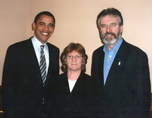 President Barack Obama, Rita O'Hare, Sinn Féin's US Representative, and Gerry Adams, President of Sinn Féin