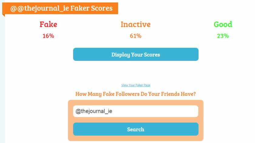 Fake, inactive and active Twitter followers of thejournal.ie