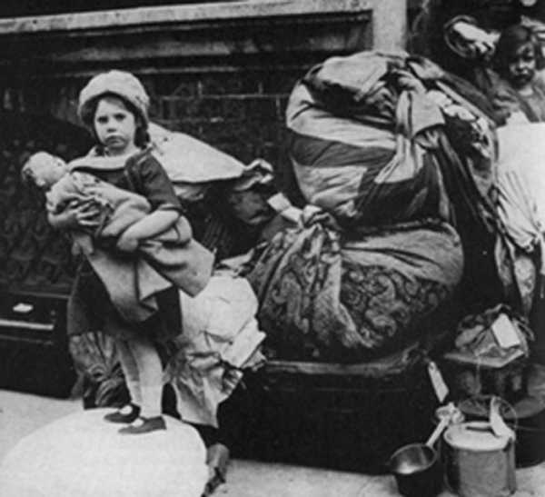 A refugee child arrives in Dublin fleeing the Northern Pogroms, Ireland, 1922