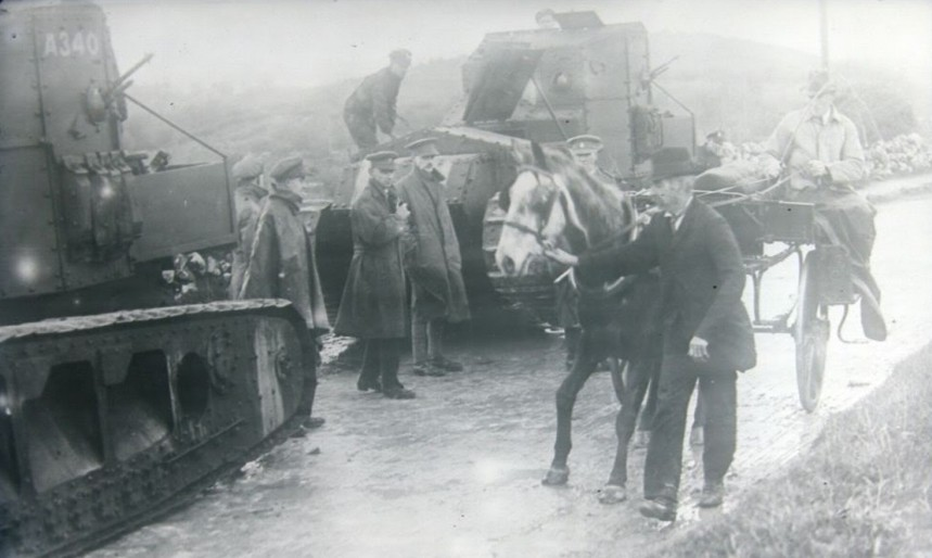 British Medium Mark A Whippet tanks patrolling County Clare during the War of Independence, Ireland, 1919