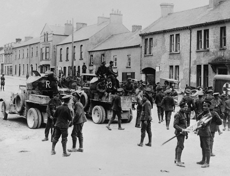 British troops reoccupying the town of Belleek following its temporary liberation by the Irish Republican Army