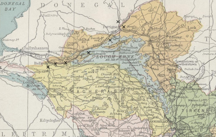 Detail of map, 1900, showing county Fermanagh, with the 1922 battlesites around Belleek and Pettigo added