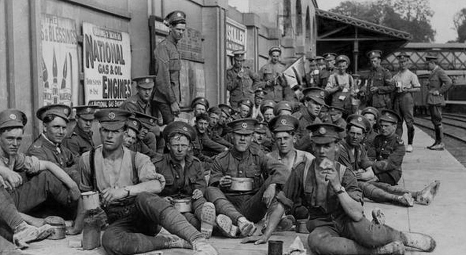 Exhausted British troops resting after the battle to seize the liberated Irish town of Pettigo from its IRA defenders, June 1922