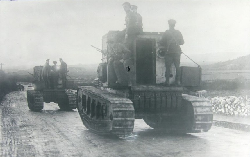 Medium Mark A Whippet tanks of the British Occupation Forces move through County Clare, Ireland, 1919