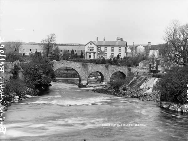 The town of Belleek, with the bridge crossing the River Erne, c.1900