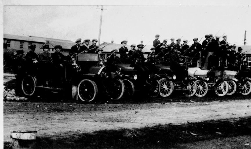 Units of the Anti-Treaty IRA pictured with some of the vehicles captured from the British Forces in the Battle of Pettigo and Belleek, August 1922