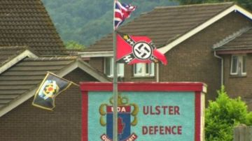 Nazi and UK terrorist banners erected by extremist unionists or British separatists in Ireland fly over the town of Carrickfergus