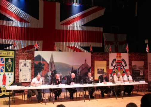 British unionist politicians and militants sit together