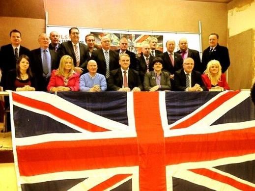 Senior leaders of the DUP, UUP and TUV present a united front with the representatives of British gunmen and bombers