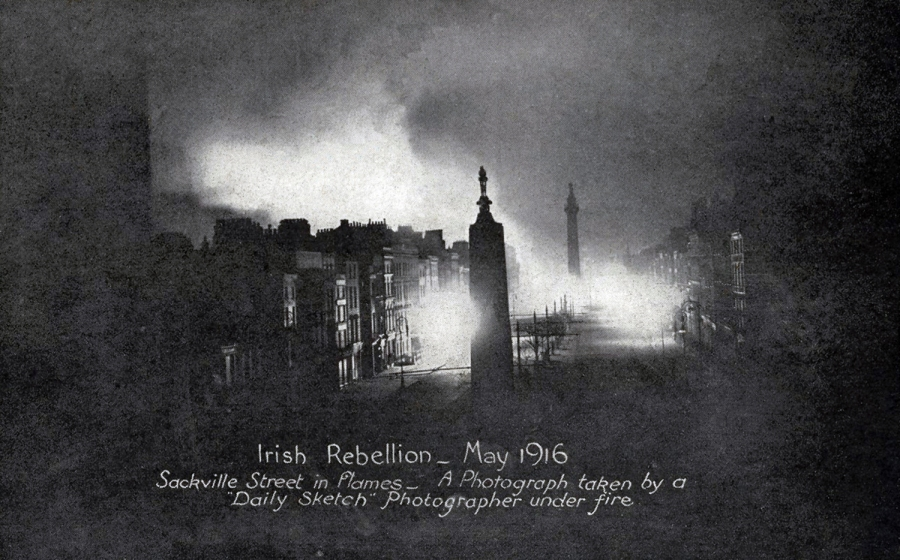O'Connell Street, Dublin, during fighting between the Irish Republican Army and the British Occupation Forces, 1916 Easter Rising