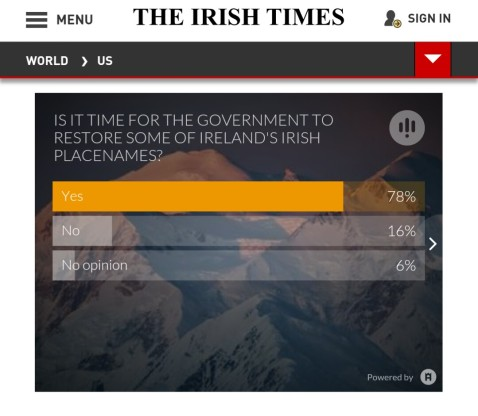 The results of an Irish Times poll on the question of restoring Irish language placenames in Ireland