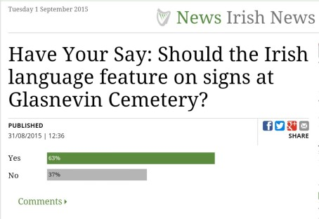 An Irish Independent poll on the need for Irish language signs at Glasnevin