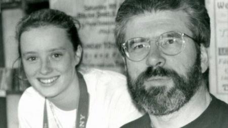 Maíria Cahill, a teenage activist of Sinn Féin, with her then party leader, Gerry Adams