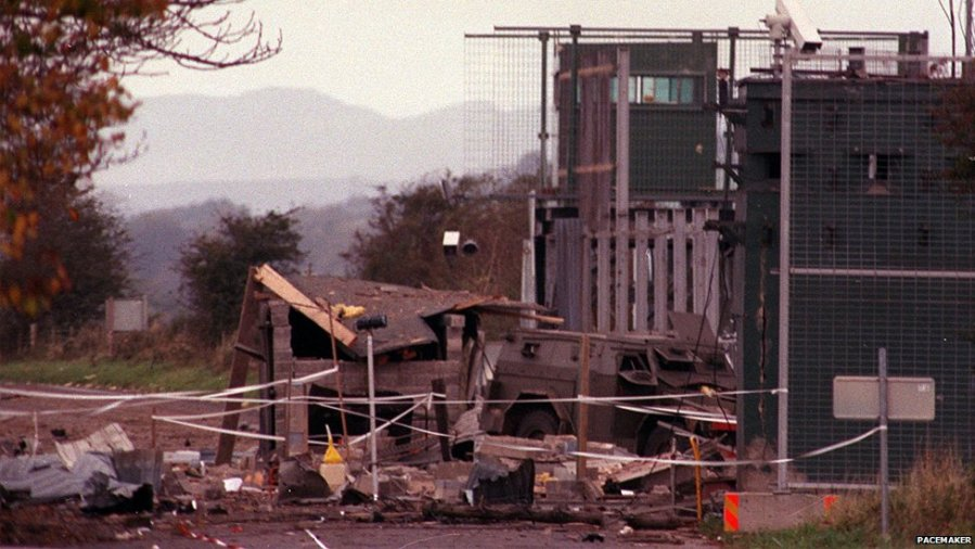 The British army's heavily fortified Coshquin military checkpoint, Derry, following a 1990 attack, UK Occupied North of Ireland