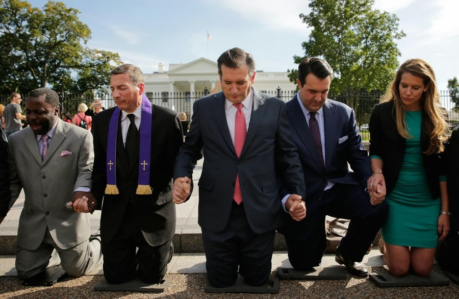Ted Cruz and other Republican Party figures praying outside the White House, United States of America