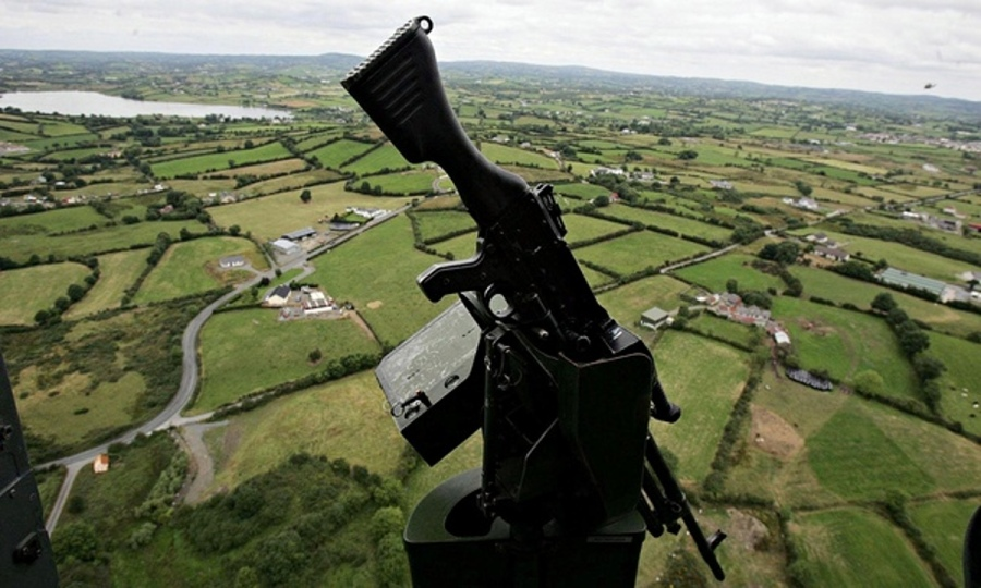 The view over the Irish countryside from a British helicopter gunship, UK Occupied North of Ireland