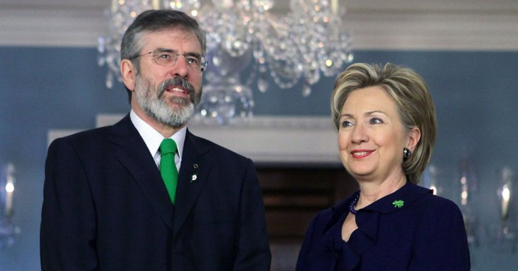Sinn Féin president, Gerry Adams TD, and the then United States' Secretary of State, Hillary Clinton