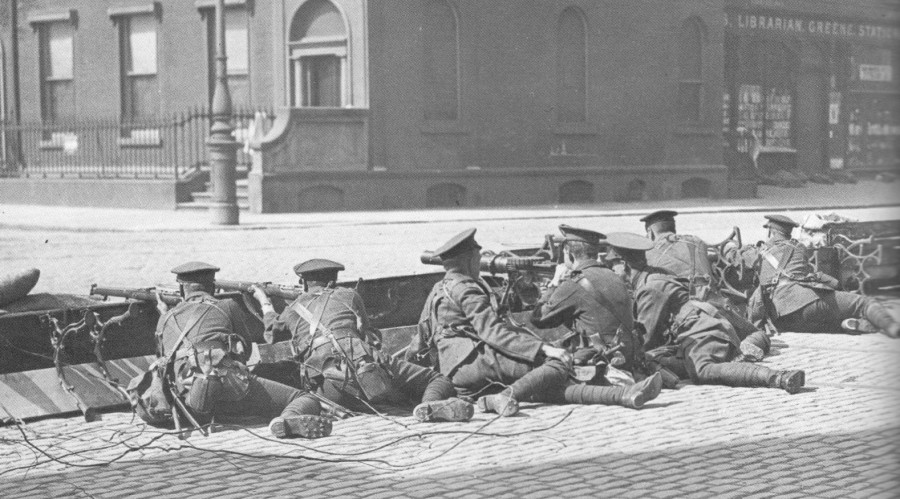 The British Occupation Forces in Ireland man an improvised barricade, Mount Street, the 1916 Easter Rising