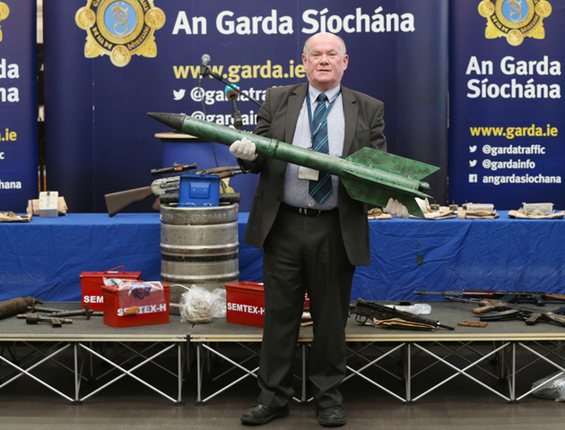 A supposed improvised rocket prototype developed by Irish republican insurgents in Ireland and seized by the Garda Síochána