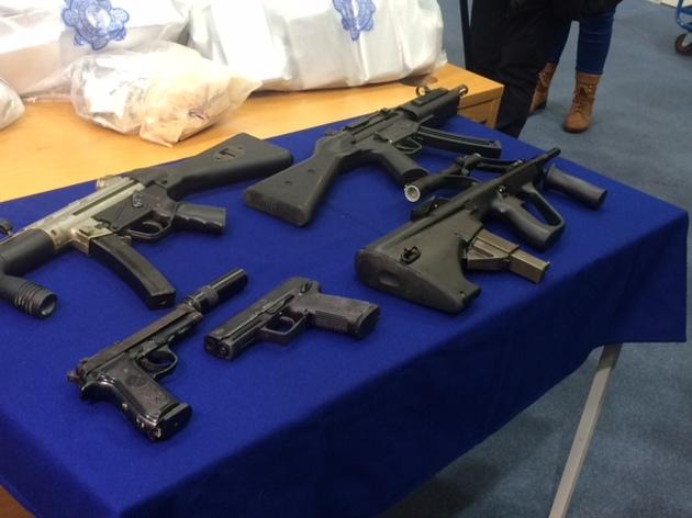 An AUG Para submachine gun, Heckler and Koch MP5 submachine gun and a German Sport Guns GSG-5 rifle taken from Irish criminal gang in Dublin