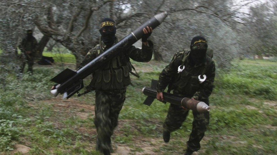 Examples of the man-portable Qassam range of artillery rockets developed by the Izz ad-Din al-Qassam Brigades, the military wing of Hamas
