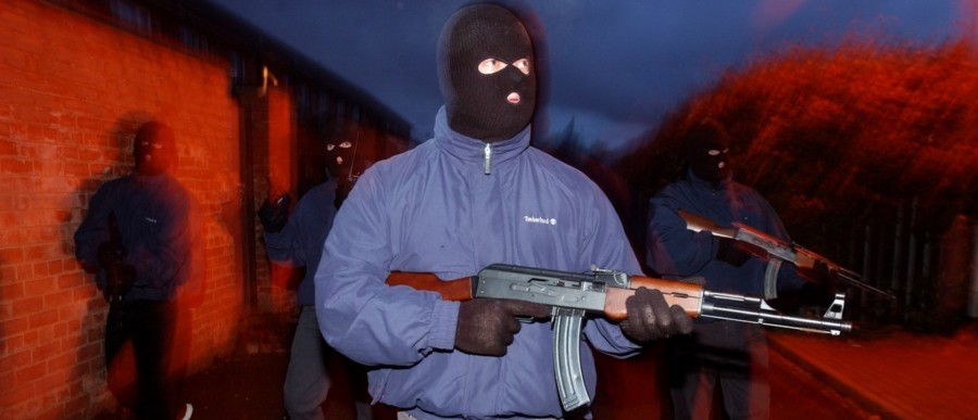 Gunmen of the UDA-UFF, a British terrorist faction in Ireland, armed with UK-procured assault rifles