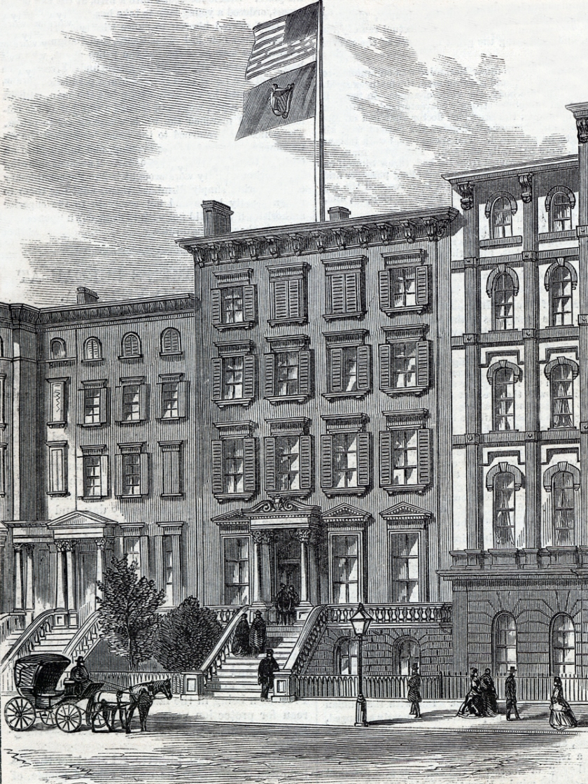 Headquarters of the Fenian Brotherhood of America, Moffat Mansion, 32 East 17th Street, Union Square, Manhattan, New York City, 1866