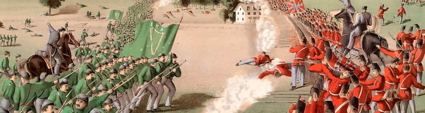 The Irish Republican Army, military wing of the Fenian Brotherhood, the Battle of Ridgeway, Canada, 2nd June 1866