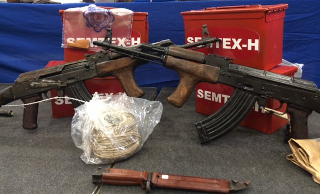 Two Romanian AIM 7.62mm automatic assault rifles seized from Irish republican insurgents