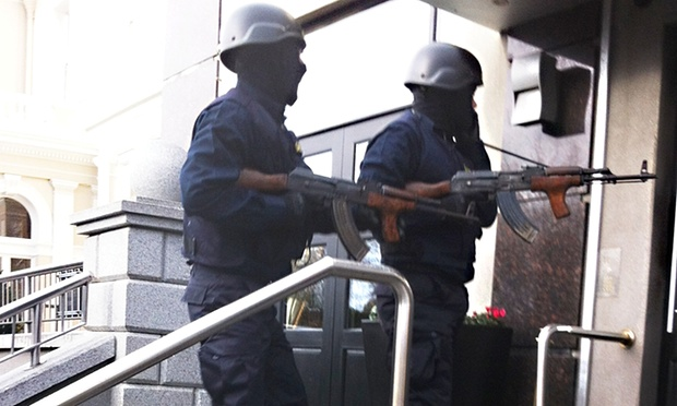 Gunmen from a Dublin narco-terrorist gang enter the Regency Hotel, dressed as Garda emergency response officers and carrying Romanian 7.62mm AIM rifles