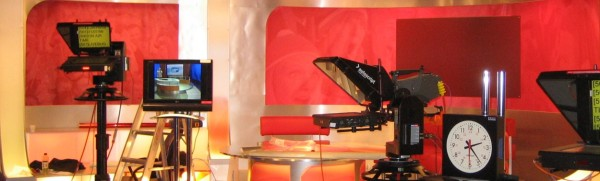 TV studio, cameras and television broadcast equipment