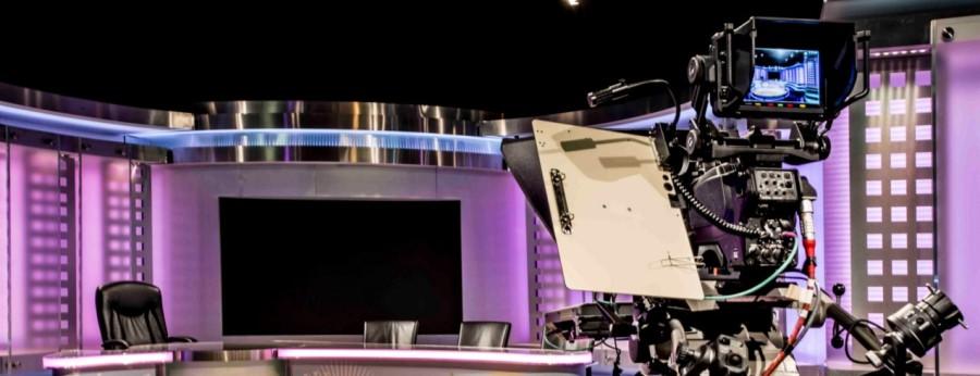 TV studio, cameras and television equipment