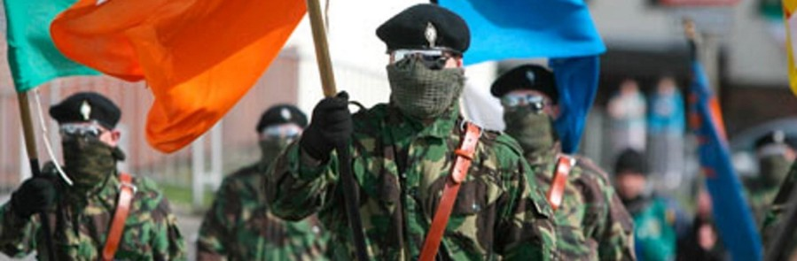 Volunteers of the Real Irish Republican Army or Real IRA march in parade
