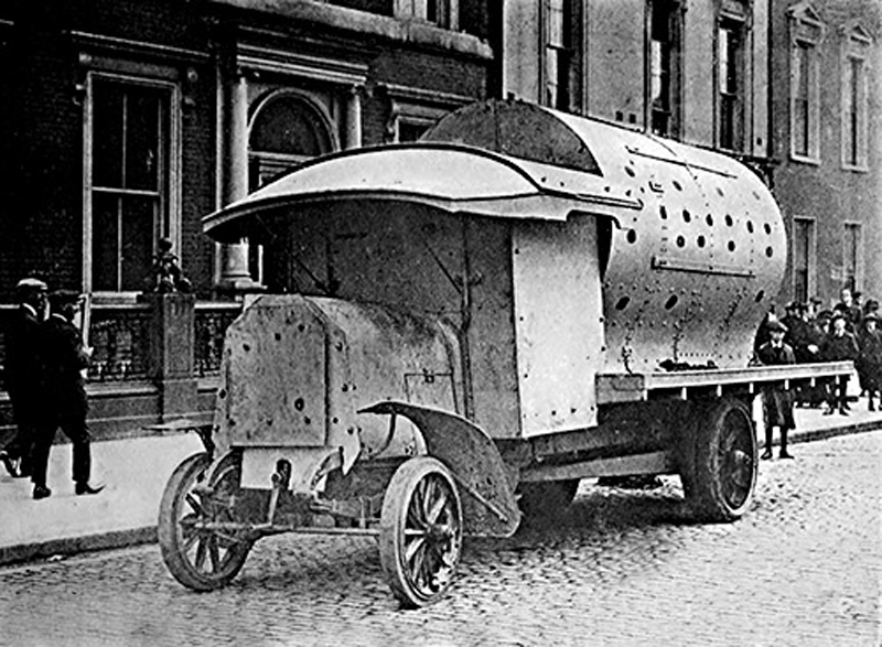 "An improvised armoured personnel carrier of the British Army during the 1916 Easter Rising, Dublin, informally known as a ""boiler"""