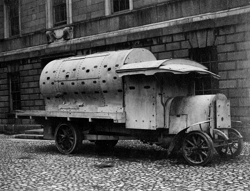 "An improvised armoured personnel carrier of the British Army during the revolutionary 1916 Easter Rising, informally known as a ""boiler"" or Daimler-Guinness APC, Dublin, Ireland"