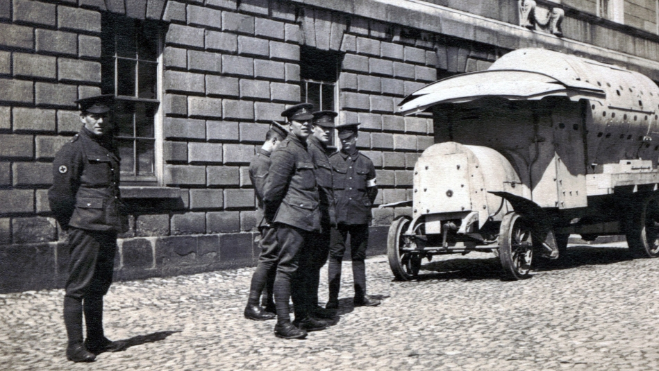 "An improvised armoured personnel carrier of the British Army during the revolutionary Easter Rising, informally known as a ""boiler"" or Daimler-Guinness APC, Dublin, Ireland, 1916"