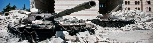 Destroyed Russian-supplied tanks of the Syrian Arab Army, Syria, the Middle East