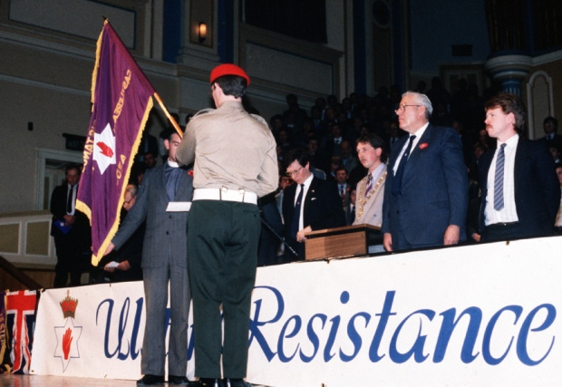 Ian Paisley at the founding meeting of the DUP's paramilitary wing, the Ulster Resistance