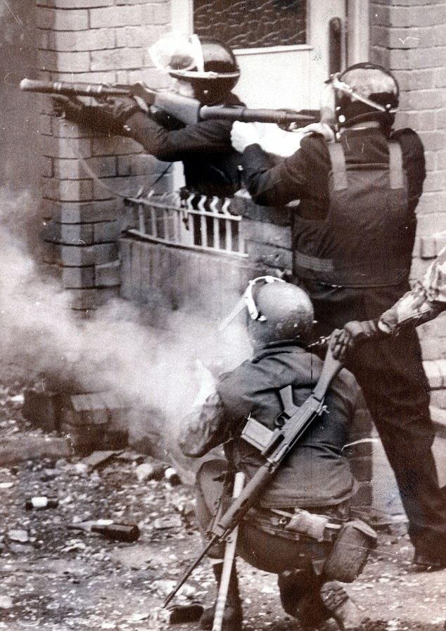 Members of the British paramilitary police and army open fire on Irish protesters, UK Occupied North of Ireland