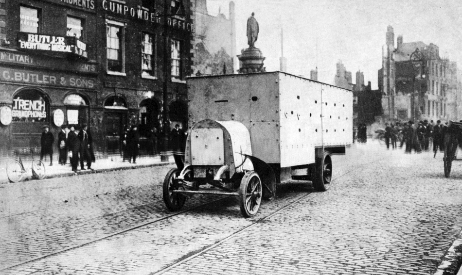 One of several improvised armoured personnel carriers of the British Army during the revolutionary Easter Rising, Dublin, 1916