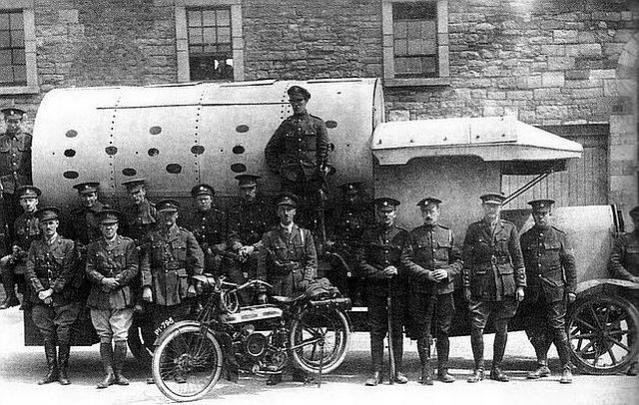 Some of the British soldiers who crewed the improvised armoured personnel carriers of the UK Occupation Forces during the 1916 Easter Rising, Dublin, Ireland