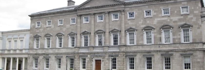 Tigh Laighean or Leinster House, seat of the Oireachtas, Dáil Éireann and Seanad Éireann, Dublin, Ireland