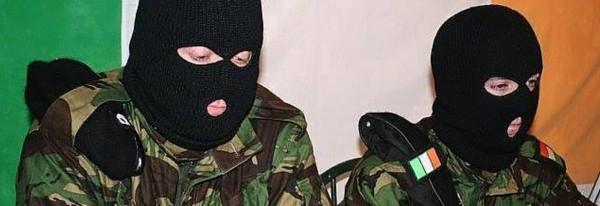 Volunteers of the Real IRA, later the New IRA, give a press conference