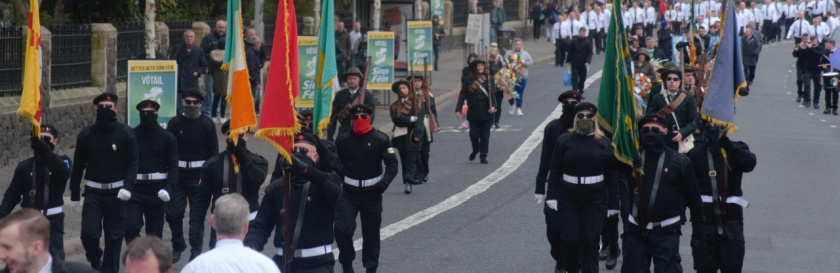 A military parade in Belfast by volunteers of the Irish National Liberation Army or INLA, 2016