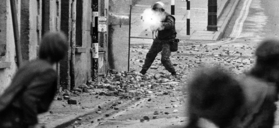 Street Fighting in the Bogside, Londonderry. 13/8/1969.