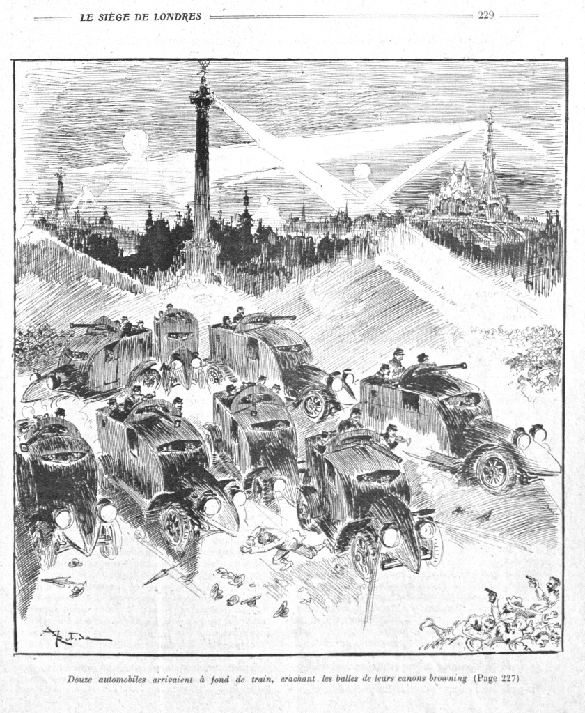 La Guerre Infernale by Pierre Giffard and Albert Robida, 1908, armoured cars