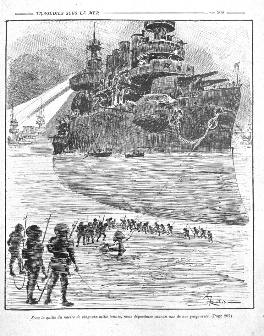 La Guerre Infernale by Pierre Giffard and Albert Robida, 1908, battleships and submariners