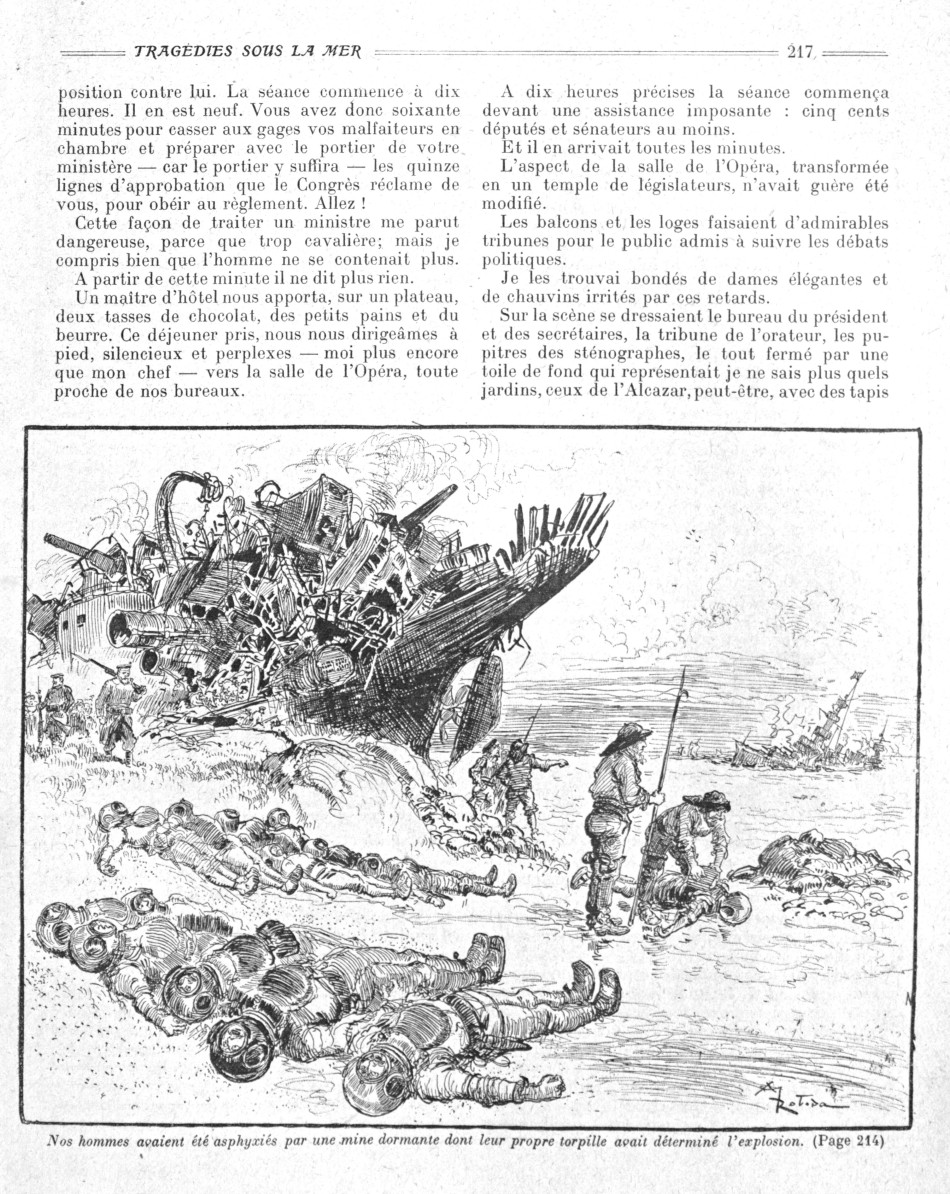 La Guerre Infernale by Pierre Giffard and Albert Robida, 1908, destroyed battleships and slain submariners