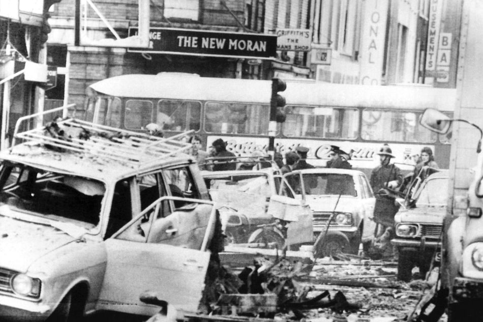 The scene of car bomb explosions by British state-backed terrorists during the Dublin - Monaghan Bombings of May 1974